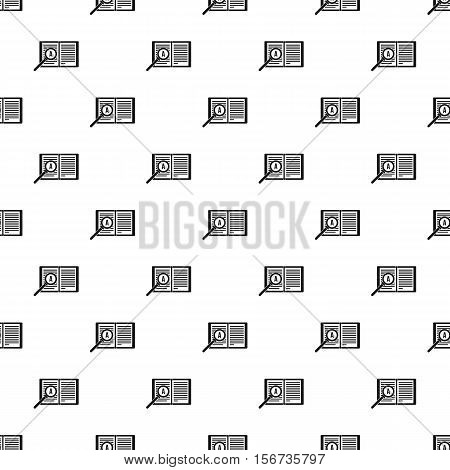 Magnifying glass over open book pattern. Simple illustration of magnifying glass over open book vector pattern for web
