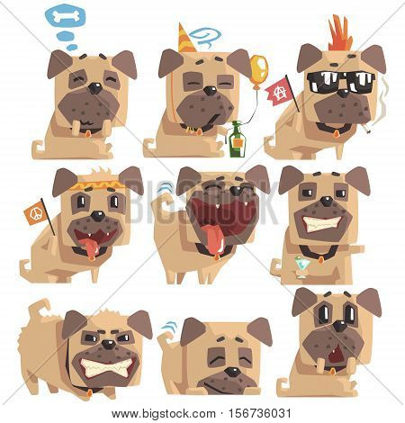 Little Pet Pug Dog Puppy With Collar Collection Of Emoji Facial Expressions And Activities Cartoon Illustrations. Cute Small Animal Emoticons In Stylized Geometric Vector Design.