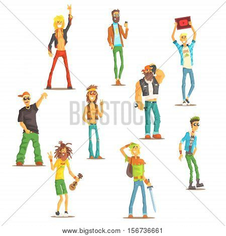 People Belonging To Different Subculture Set Of Recognizable Cartoon Characters With Cultural Group Attributes. Colorful Illustrations With Guys Dressed As Rapper, Rocker, Rastafarian, Punk And Others.