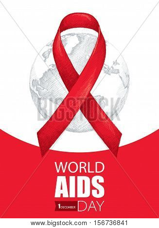 Vector illustration with gray earth planet and red ribbon on the white background. AIDS Awareness symbol in line art style. Vertical poster for world AIDS day 1 December with world map and ribbon.