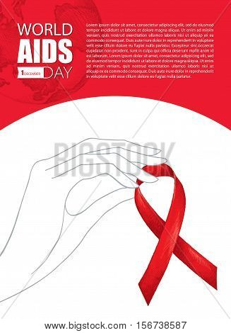 Vector illustration with contour woman hand and sketch red ribbon isolated on white background. AIDS Awareness elements in line art style. Design for world AIDS day 1 December with ribbon and hand.