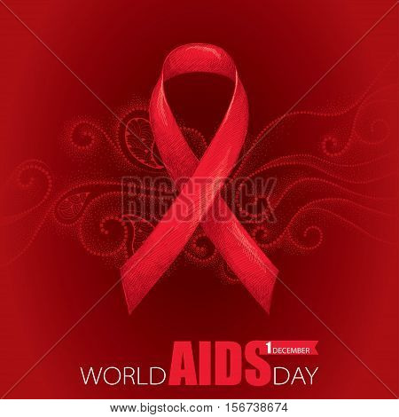 Vector background with red ribbon and dotted curly swirls. AIDS Awareness symbol in line art style. Elegance design for world AIDS day 1 December with sketch ribbon and curls.