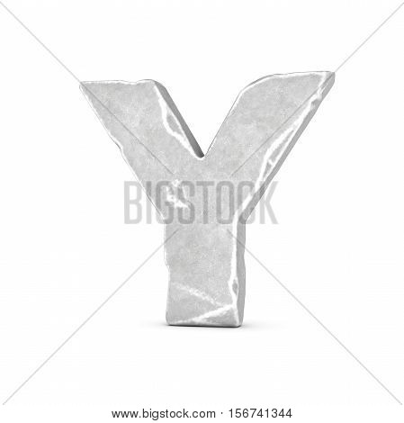 3D rendering of stone letter Y isolated on white background. Figures and symbols. Cracked surface. Textured materials. Rock alphabet.