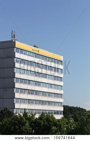 Kiel, Germany - June 4, 2016: German post called Deutsche Post in German building in Kiel. Deutsche Post operating under the trade name Deutsche Post DHL, is a German courier company and the world's largest