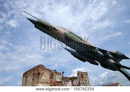 TURANJ, CROATIA - JUNE 11: Museum of the Croatian War of Independence, 1991 - 1995, (Homeland War, Domovinski Rat), fighter Combat aircraft MIG 21, Turanj, Croatia on June 11, 2016