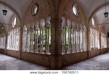 DUBROVNIK, CROATIA - DECEMBER 01: The cloister of the Franciscan monastery of the Friars Minor in Dubrovnik, Croatia on December 01, 2015.