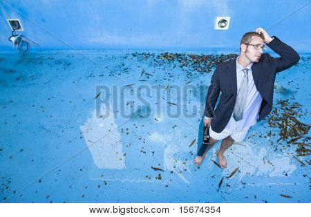 businessman in pool