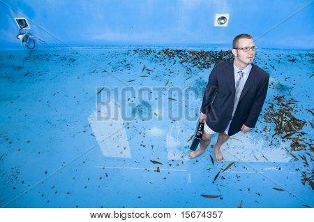 businessman in pool