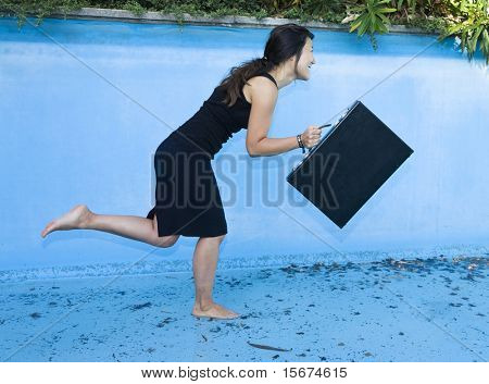 businesswoman in pool