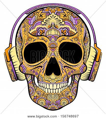 Vector colorful orange skull graphics with floral ornaments and headphones