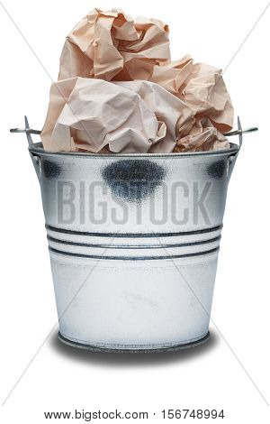Metal trash bin with trash on isolated white background