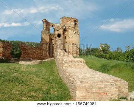 The ruins of the old castle summer day against the sky
