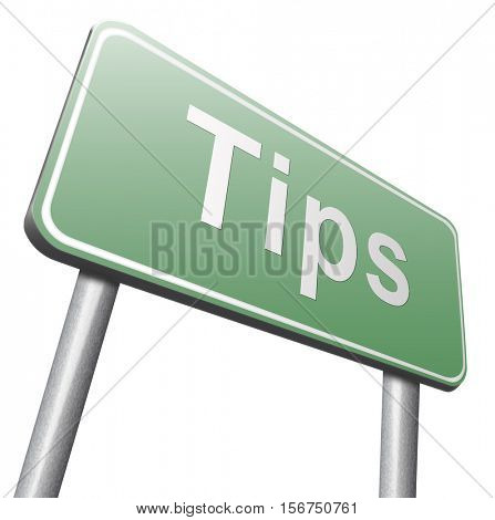 tips helpful tip and trick hot idea clue and user tricks 3D illustration, isolated, on white