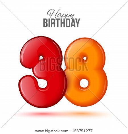 thirty eight birthday greeting card template with 3d shiny number thirty eight balloon on white background. Birthday party greeting, invitation card, banner with number 38 shaped balloon