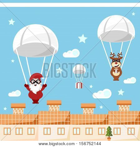 santa claus and reindeer delivering christmas presents by parachute