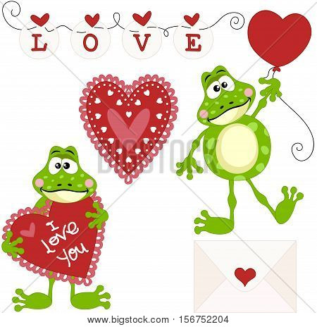Scalable vectorial image representing a frog love clip art set digital elements, isolated on white.