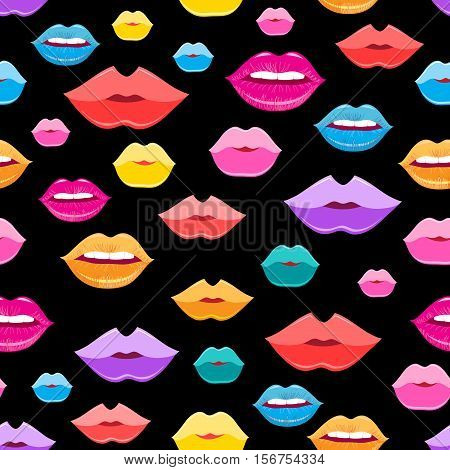 Bright vector pattern of colored lips on a dark background