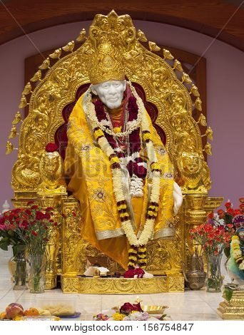 MILPITAS CA- USA NOVEMBER 2015. Sai Baba of Shirdi in Hindu temple. He was an Indian spiritual master who was and is regarded by his devotees as a saint fakir and satguru.