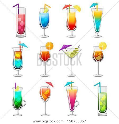Set of classic alcohol cocktails in glasses with slices of fruits straw and umbrella isolated vector illustration