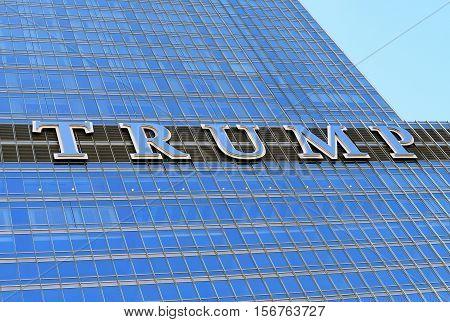 Trump Tower Skyscraper Building On Chicago River