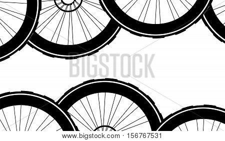 Bike Wheels Background Pattern. Pattern Of Bicycle Wheels.