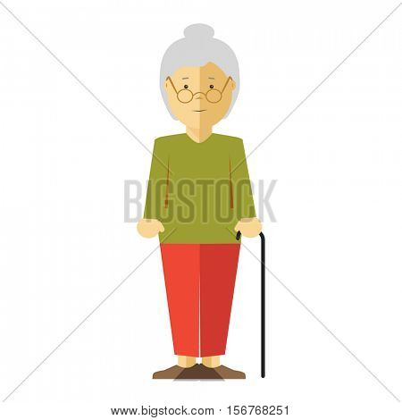 Old lady or grandmother. Icon of elderly female person with smile. Happy mature woman or grandma with grey hair. Cartoon character in flat style. Vector isolated illustration on white background.