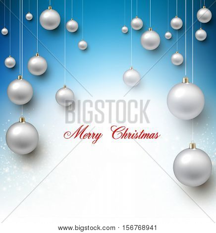 Elegant shiny Christmas background with white baubles and place for text. Vector Illustration.