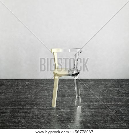 3D rendering of partially finished glass chair on top of dark gray marble floor with gray background