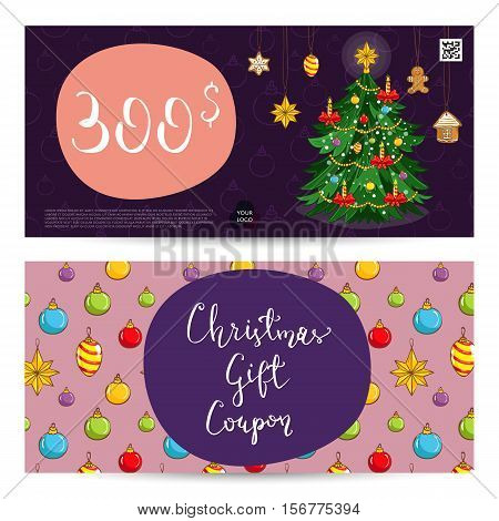 Christmas gift voucher template. Gift coupon with Xmas attributes and prepaid sum. Wrapped gifts, christmas tree toys cartoon vectors. Merry Christmas and Happy New Year greeting card