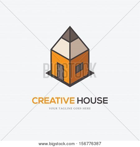 Creative logo with pencil looking like a house. Can be used for interior or exterior design firm drawing school architectural or educational concepts etc.