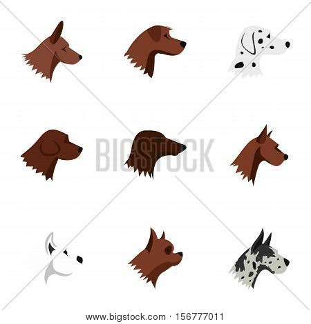 Faithful friend dog icons set. Flat illustration of 9 faithful friend dog vector icons for web