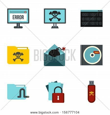 Ddos attack icons set. Flat illustration of 9 ddos attack vector icons for web