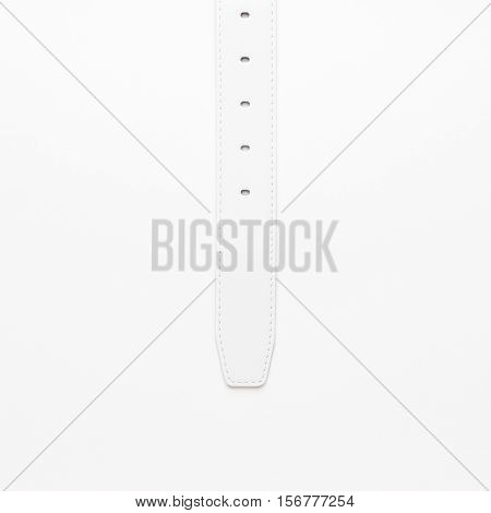 men's leather belt on white background. not isolated