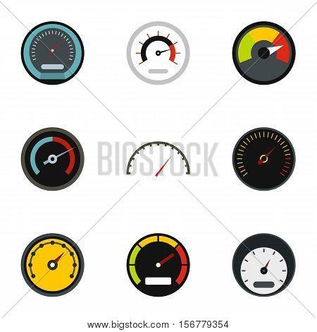 Speed measurement icons set. Flat illustration of 9 speed measurement vector icons for web