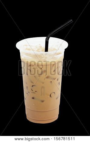Iced coffee with straw in plastic cup isolated on black background / coffee sweet