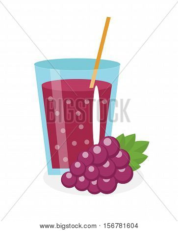 Grape juice in a glass. Fresh grape juice isolated on white background. Fresh fruit and juice icon. Blue grape drink, fruit compote. Grapes cocktail smoothie. Vector illustration