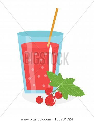 Currant juice in a glass. Fresh currant juice isolated on white background. Fresh fruit and juice icon. Red currant drink, fruit compote. Berry cocktail. Vector illustration