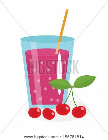 Cherry juice in a glass. Fresh cherry juice isolated on white background. Fresh fruit and juice icon. Cherry drink, fruit compote. Cherry cocktail, smoothie. Vector illustration