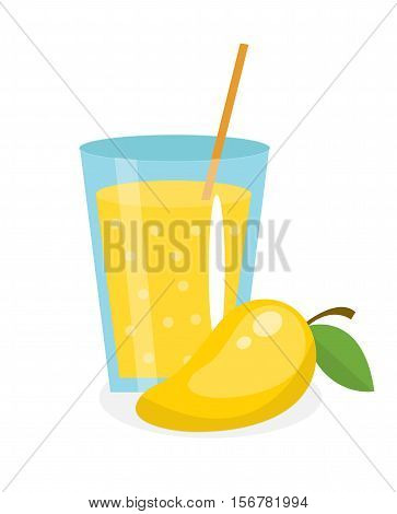 Mango juice in a glass. Fresh mango juice isolated on white background. Fresh fruit and juice icon. Yellow mango drink, fruit compote. Mango cocktail. Vector illustration