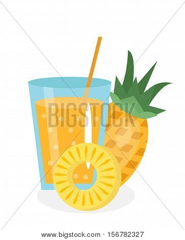 Pineapple juice in a glass. Fresh pineapple juice isolated on white background. Fresh fruit and juice icon. Pineapple drink, fruit compote. Pineapple cocktail smoothie. Vector illustration