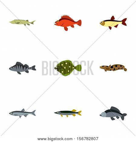 Ocean fish icons set. Flat illustration of 9 ocean fish vector icons for web