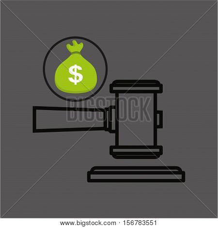 money bag with judge gavel icon design vector illustration eps 10