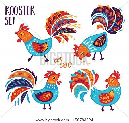Oriental Happy Chinese New Year 2017. Year of Rooster. Vector illustration for holiday design. 2017 New year symbol. Traditional cock.