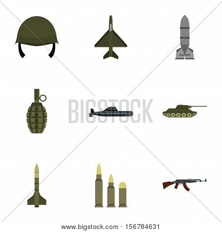 Military weapons icons set. Flat illustration of 9 military weapons vector icons for web