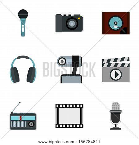 Electronic devices icons set. Flat illustration of 9 electronic devices vector icons for web