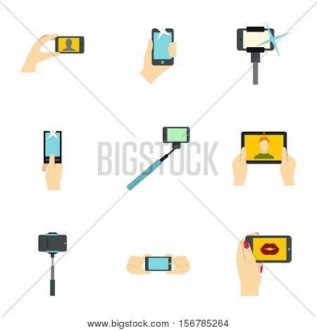 Photo on mobile phone icons set. Flat illustration of 9 photo on mobile phone vector icons for web