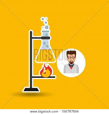 male scientist laboratory processing icon vector illustration eps 10
