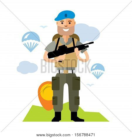 Russian soldier in blue with gun. Powerful Russian soldiers. VDV. Isolated on a white background