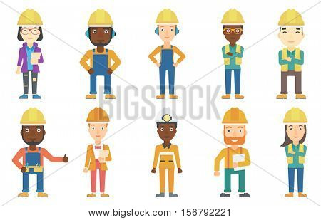 Young builder standing with folded hands. Confident builder in hard hat. Smiling builder in overalls with belt with tools. Set of vector flat design illustrations isolated on white background.