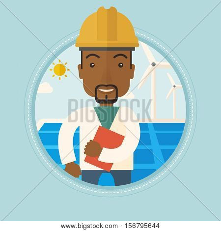 Worker of solar power plant and wind farm. An african-american man with folder on background of solar panel and wind turbine. Vector flat design illustration in the circle isolated on background.